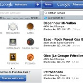 Google adresses - application sur le Iphone
