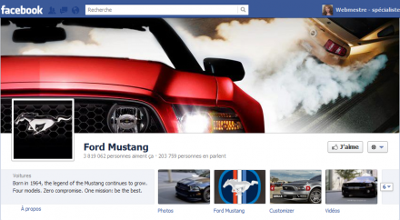 Facebook page Ford Mustang 2012