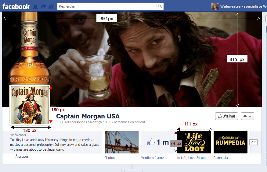 Exemple page Facebook timeline 2012 - Captain Morgain